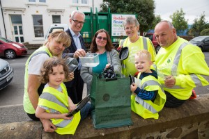 Kids from the Rothesay Playgroup help celebrate the launch of Zero Waste Bute, Scotland's second Zero Waste Town (and the world's first Zero Waste Island). Pic shows... Jayden Mitchell (3) and Lilly Kelly (4) (front) with (l-r) Anne Shaw, Frank Stubbs, Reeni Kennedy-Boyle, Iain McLachlan and David Marshall. More info from Sarah Stuart, Zero Waste Scotland 07715 066461